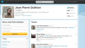 Capture d'écran du compte Twitter de Jean-Pierre Duthion, jeudi 19/7/12, vers 15h45