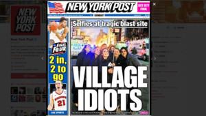Le New York Post fait sa Une sur un selfie devant un incendie à New-York