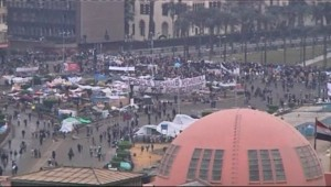 Rassemblement au Caire, le 6 février 2011.