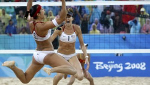 Misty May-Treanor and Kerri Walsh of the U.S. celebrate winning their women's beach volleyball final match against China at the Beijing 2008 Olympic Games