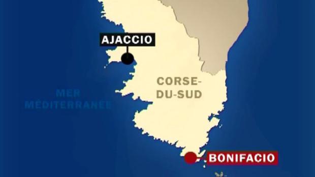 Carte de la Corse - région de Bonifacio