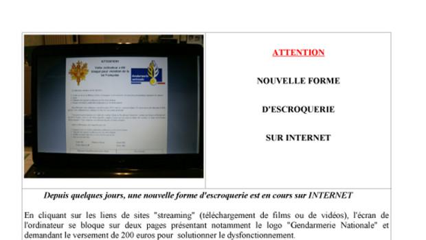Extrait du communiqué du ministère de l'Intérieur envoyé le 14 décembre 2011 concernant un spam sur les sites de streaming