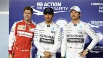 Sebastian Vettel, Nico Rosberg et Lewis Hamilton à Bahreïn