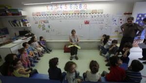Une salle de classe du lycée Charles De Gaulle de Damas le 9 mai 2013