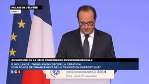"""Hollande : """"1,5 milliard d'euros sur trois ans"""" pour financer la transition énergétique"""