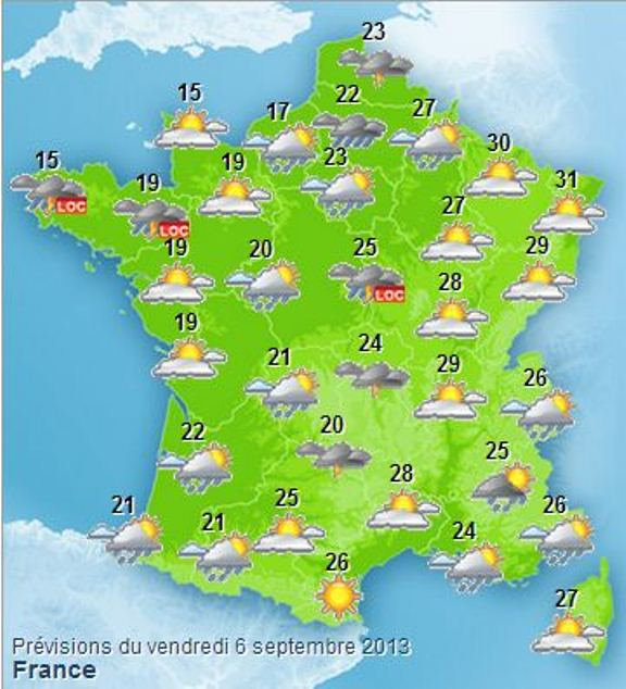 M t o gratuite a 12 jours - Meteo a la carte france 3 ...
