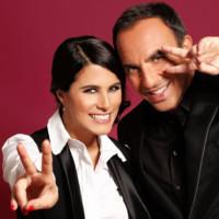 Nikos et Karine Ferri sur le plateau de The Voice