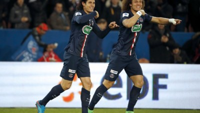Les buteurs parisiens Cavani et David Luiz.