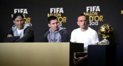 Ribéry, Ronaldo et Messi lors de la conférence de presse avant la remise du Ballon d'Or 2013. (13/01/2014)