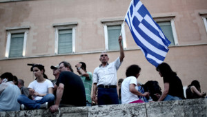 Un manifestant anti austérité à Athènes le 21 juin 2015
