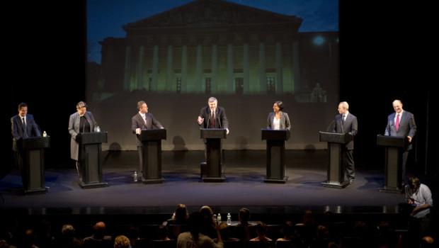 Des candidats au siège de député en amérique du nord lors du débat à New York, le 23 mai 2012.