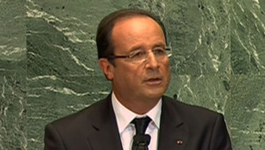 François Hollande lors de sa première intervention à la tribune des Nations unies le 25 septembre 2012.
