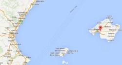 Carte de localisation de Palma de Majorque et Valence