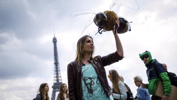 Sit-in pacifique contre Monsanto et les OGM le 25 mai 2013 au Trocadéro.