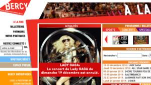 Capture du site de Bercy sur l'annulation du concert de Lady Gaga à cause de la neige, le 19 décembre 2010