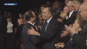 François Hollande et Jacques Chirac au musée du quai Branly