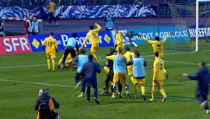Victoire de l'équipe de foot d'Epinal face au géant Olympique Lyonnais en Coupe de France le 6 janvier 2013.
