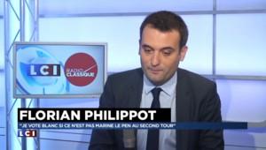 """Florian Philippot : """"Je vote blanc si ce n'est pas Marine Le Pen au second tour"""""""