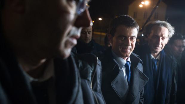 Manuel Valls en meeting dans le Doubs le 27 janvier 2015.