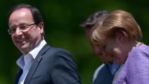 François Hollande et Angela Merkel au sommet du G8 à Camp David (USA), le 19 mai 2012.