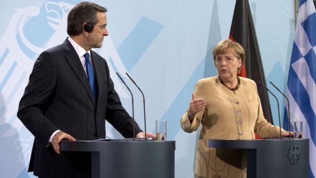 Conférence de presse commune entre la chancelière allemande Angela Merkel et le Premier ministre grec Antonis Samaras à Berlin (24 août 2012)