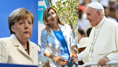 La chancelière Angela Merkel, le pape François et la maire de Lampedusa Giusi Nicolini : trois des favoris pour le prix Nobel 2015