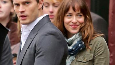 Jamie Dornan et Dakota Johnson sur le tournage de 50 shades of Grey décembre 2013