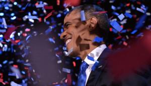 Barack Obama fête sa victoire à l'élection américaine, à Chicago, le 7/11/12