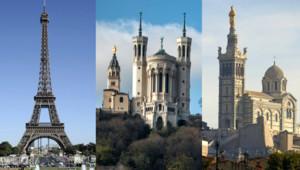 La Tour Eiffel (Paris), la basilique de Fourvière (Lyon) et la basilique Notre-Dame de la Garde.