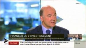 Pierre Moscovici sur iTélé, parlant de la baisse de participation de l'Etat au capital des entreprises.