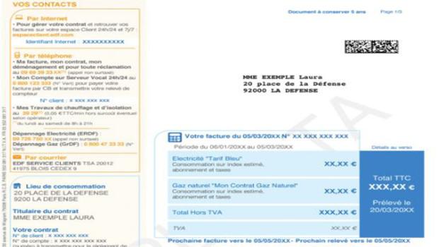 Une facture EDF (illustration).