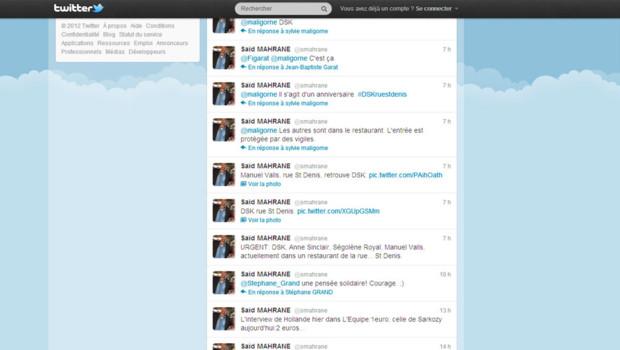 Capture du compte Twitter du journaliste Saïd MAHRANE  @smahrane