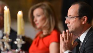 Valérie Trierweiler et François Hollande lors d'un dîner à l'Elysée, le 7 mai 2013.
