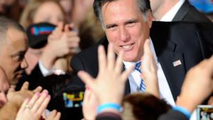 Le candidat à l'investiture républicaine Mitt Romney face à ses partisans à Las Vegas (4 février 2012)