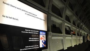 """""""Va en enfer Barack"""" : la publicité qui dérange"""