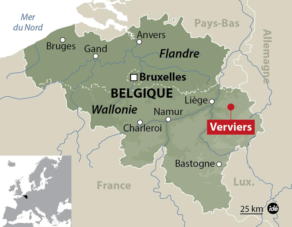 Carte de Verviers, en Belgique, où une opération anti-terroriste a fait trois morts le 15 janvier 2015.
