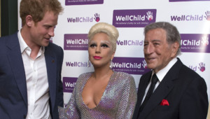 Le Prince Harry, Lady Gaga et Tonu Bennett au concert de charité Well Child à Londres le 8 juin 2015