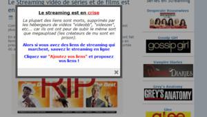 Un des sites de streaming demandant l'aide de ses utilisateurs.