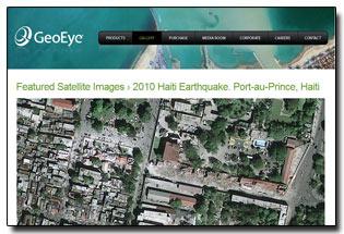 Capture écran de la page de GeoEye proposant une vue satellite de Port-au-Prince après le séisme