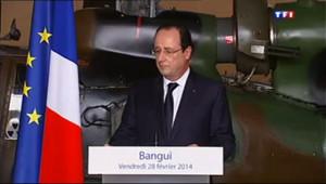 """Le 13 heures du 28 février 2014 : Hollande en Centrafrique : """"Des milliers de vies ont � sauv� gr� �ous"""" - 625.1987859039305"""