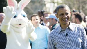 Barack Obama à la Maison blanche pour la traditionnelle chasse aux oeufs de Pâques.