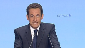 TF1 / LCi Nicolas Sarkozy s'adressant a ses militants, salle Gaveau, quelques minutes après l'annonce de sa victoire à la présidentielle, le 6 mai 2007