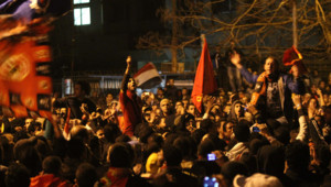 Des manifestants en colère contre le drame de Port-Saïd, le 2 février 2012.