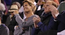 Amélie Mauresmo dans les gradins de l'Open d'Australie le 29 janvier 2015 pour encourager son poulain Andy Murray.