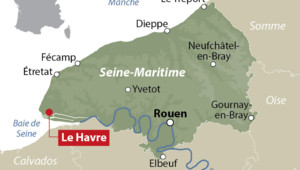 Carte de localisation du Havre en Seine-Maritime