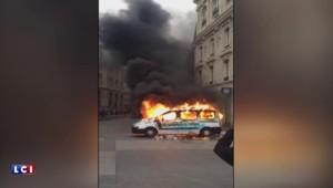 Manifestations anti-loi Travail : les images d'une voiture de la RATP incendiée par des militants