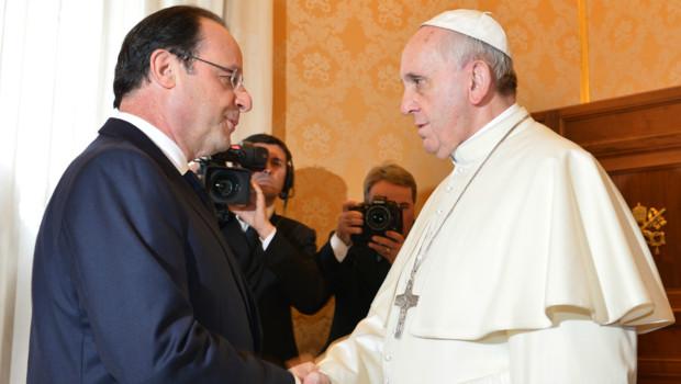 Première rencontre entre François Hollande et le pape François au Vatican. (24/01/2014)