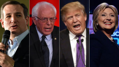 Ted Cruz, Bernie Sanders, Donald Trump et Hillary Clinton.