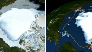 Images satellites de la banquise de l'Arctique prises en 1980 (à gauche) et en 2012 (à droite)