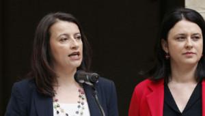 Cécile Duflot et Sylvia Pinel au ministère du Logement le 2 avril 2014